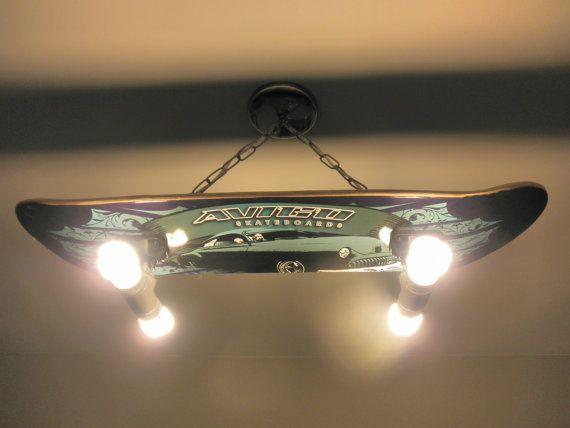 custom hanging skateboard light fixture by. Black Bedroom Furniture Sets. Home Design Ideas