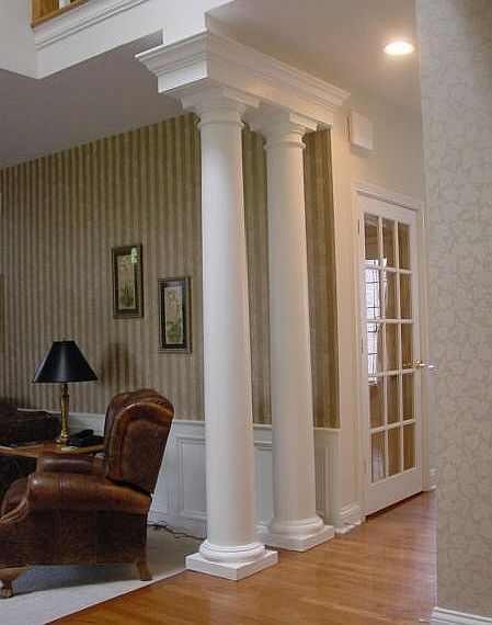 Round tapered interior columns interior columns for Columns in houses interior
