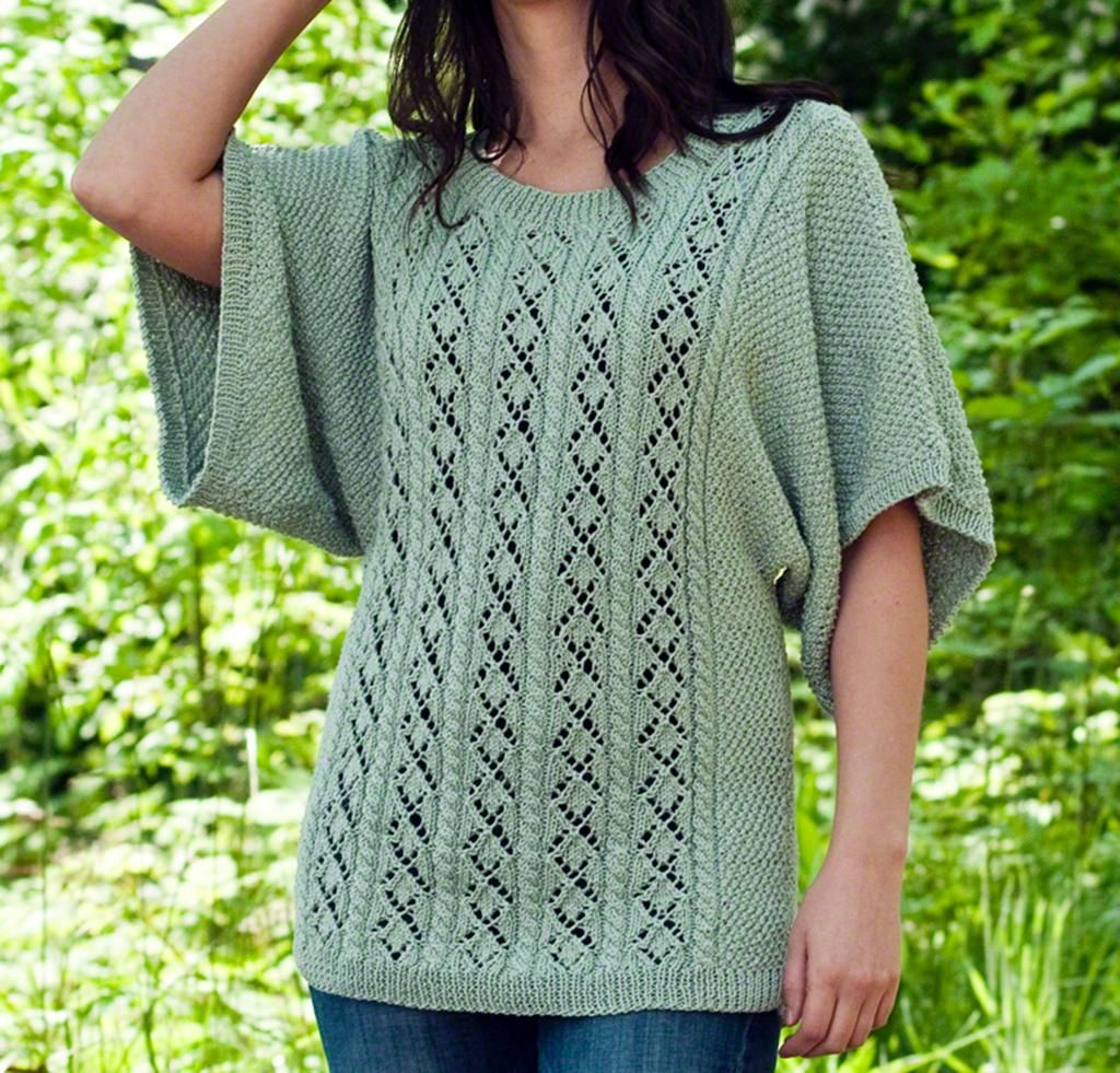 Diamonds & Cables Top Knitting Kit | Cotton sweater and Cable
