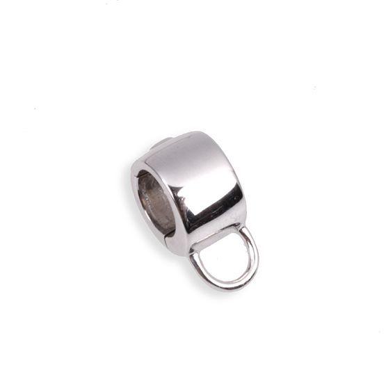1e Gehalte zilveren click on charms met een hangoog om hang on bedels aan te hangen, Side, nieuw in geschenkverpakking.