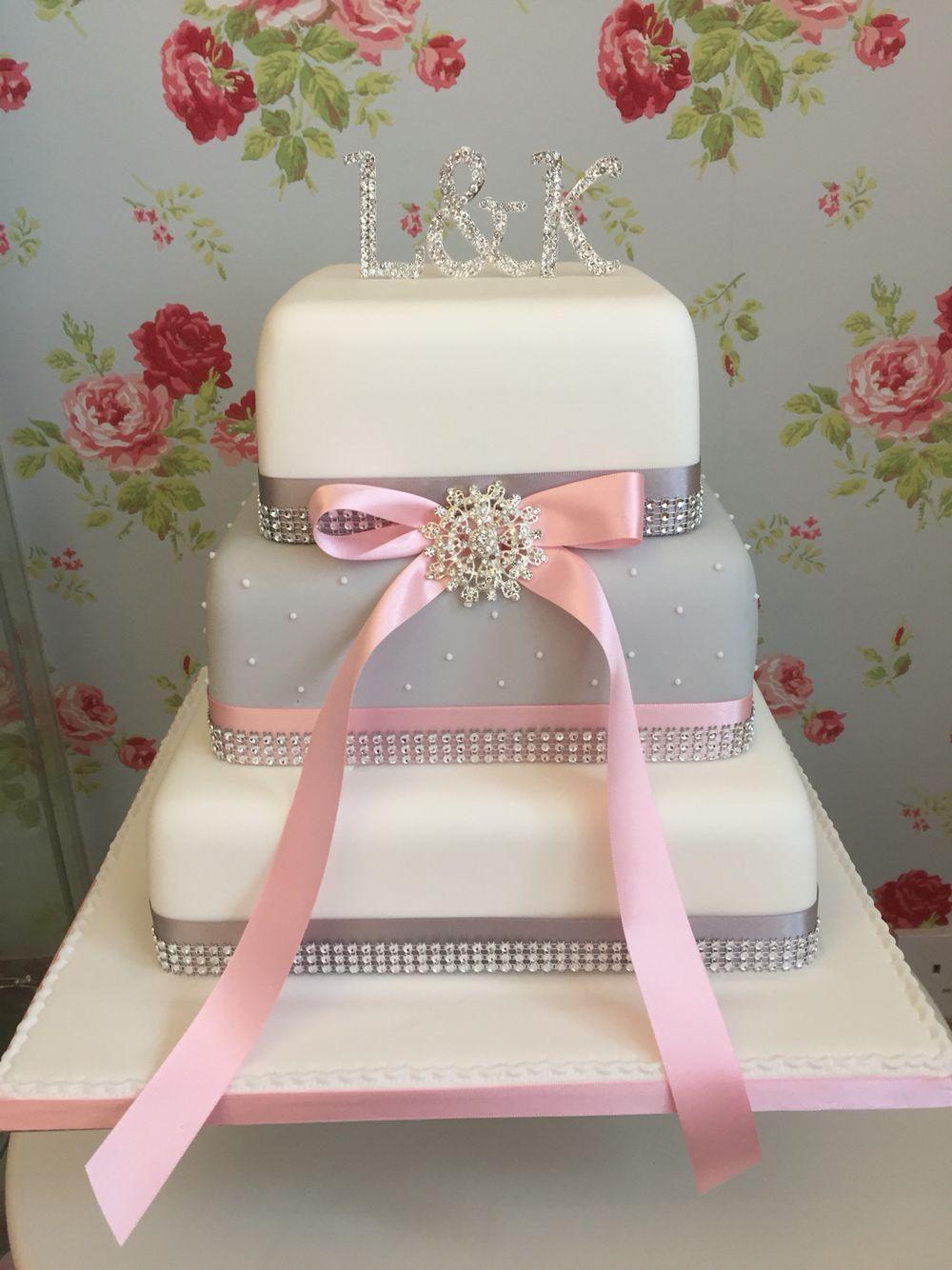 Grey Pink And White Diamanté Wedding Cake
