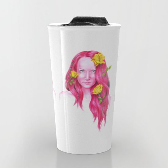 #travelmug #mug #woman #redhead #yellow #rose #illustration