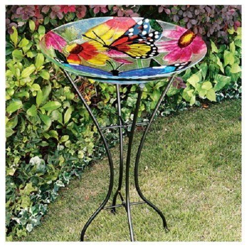 1 New Gerson 26 5 Fused Glass Butterfly Bird Bath W Stand 2066210 Glass Bird Bath Bird Bath Glass Butterfly
