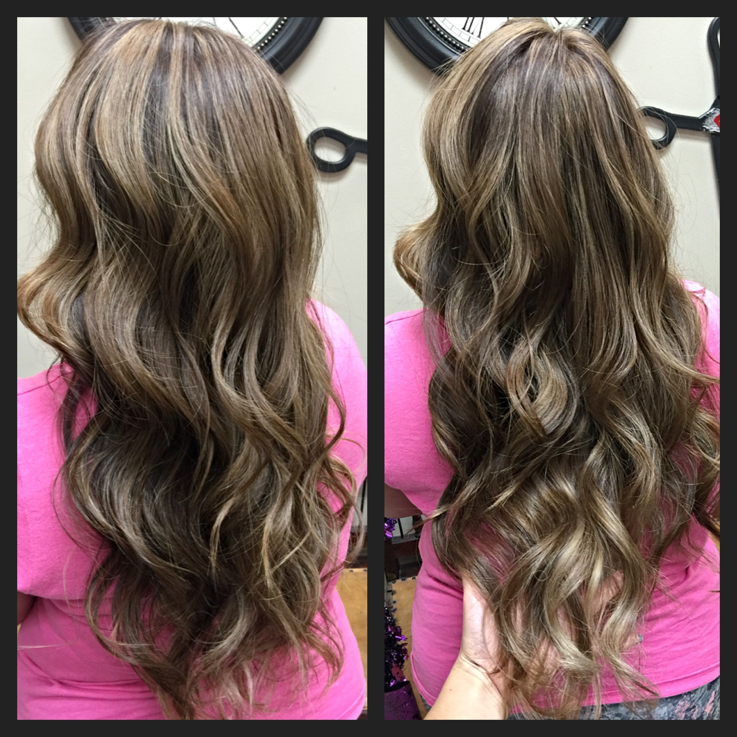 Beige Blonde Highlights With A Dark Chocolate Brown Base Color