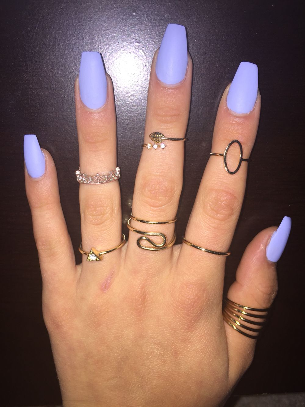 long matte blue nails with midi rings! | n a i l s | Pinterest ...