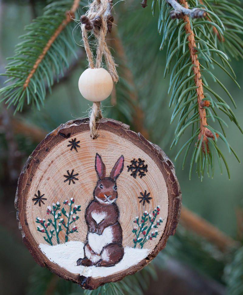 Photo of Articoli simili all'ornamento natalizio Decorazioni natalizie per alberi di Natale o ghirlande natalizie, realizzate con pirografia e pittura acrilica su Etsy