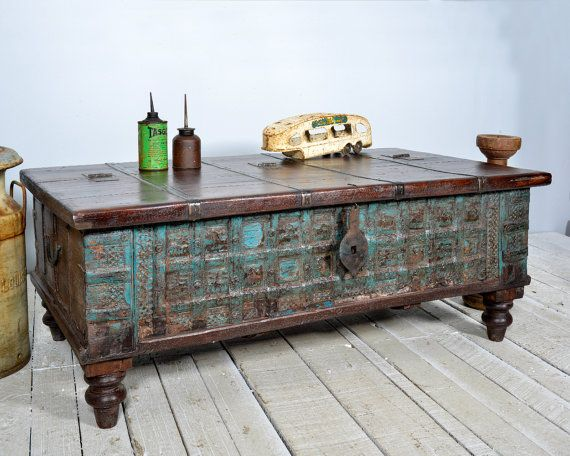 Massive Reclaimed Salvaged Antique Indian Door Hammerandhandimports | Soft  Blue U0026 Beige | Pinterest | Coffee Table Storage, Trunk Coffee Tables And  Table ...