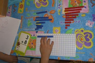The Homeschool Den: Addition Activities 5 -- Addition Strip Board