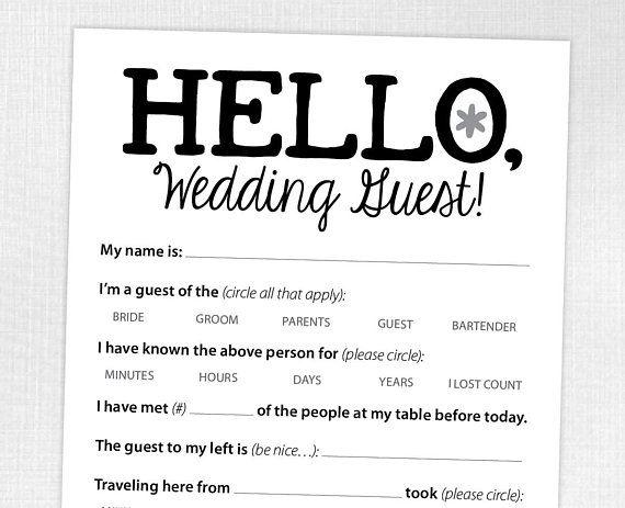 Funny Wedding Reception Icebreaker Cards Entertain Your
