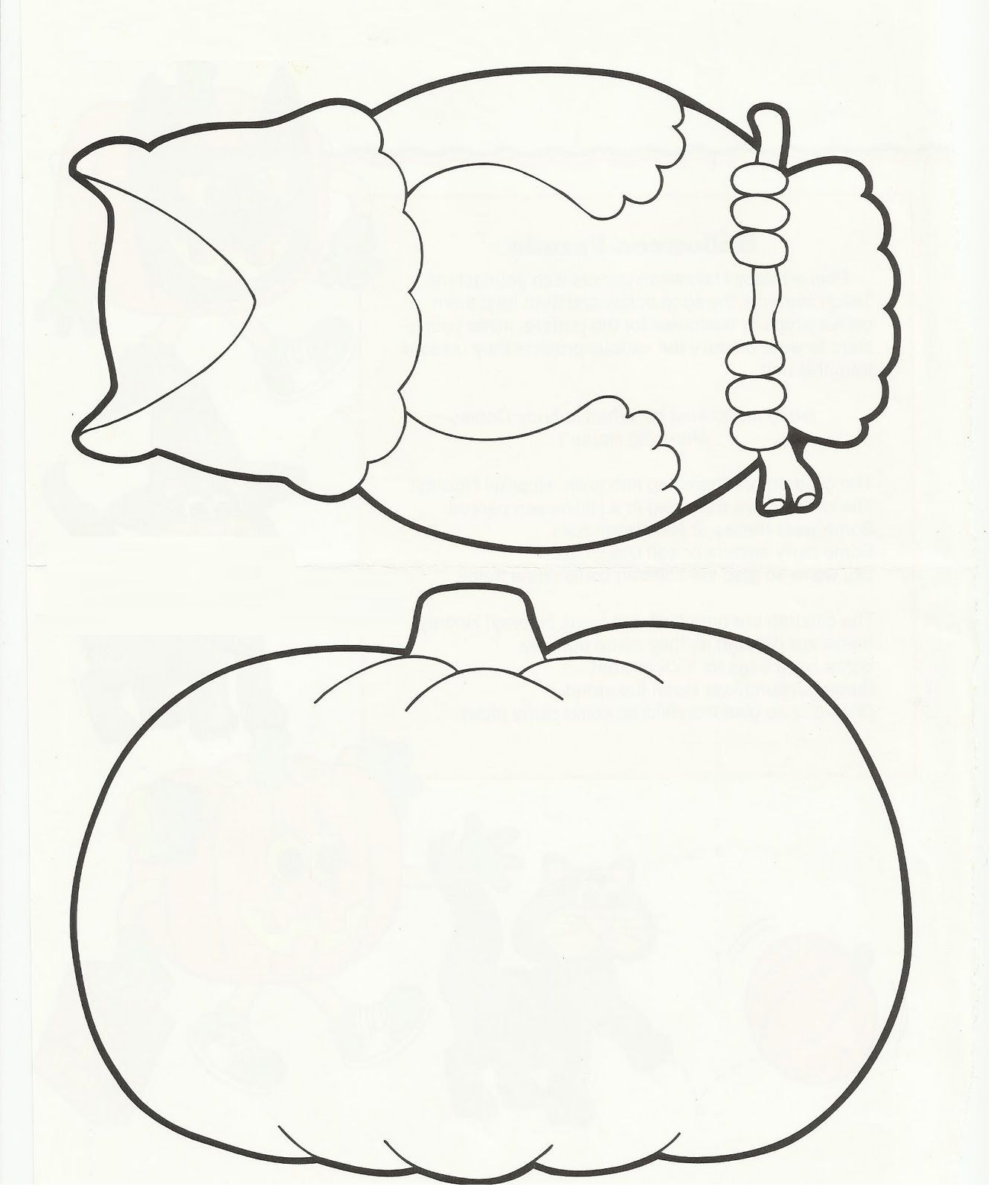 Printable Halloween Owl And Pumpkin Templates Activity Coloring Pages