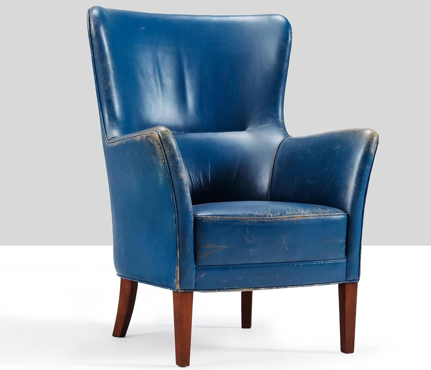 Comfortable Easy Chair in Blue Leather Denmark 1960s | From a unique collection of antique and modern armchairs at ... & Comfortable Easy Chair in Blue Leather Denmark 1960s | Chairs ...