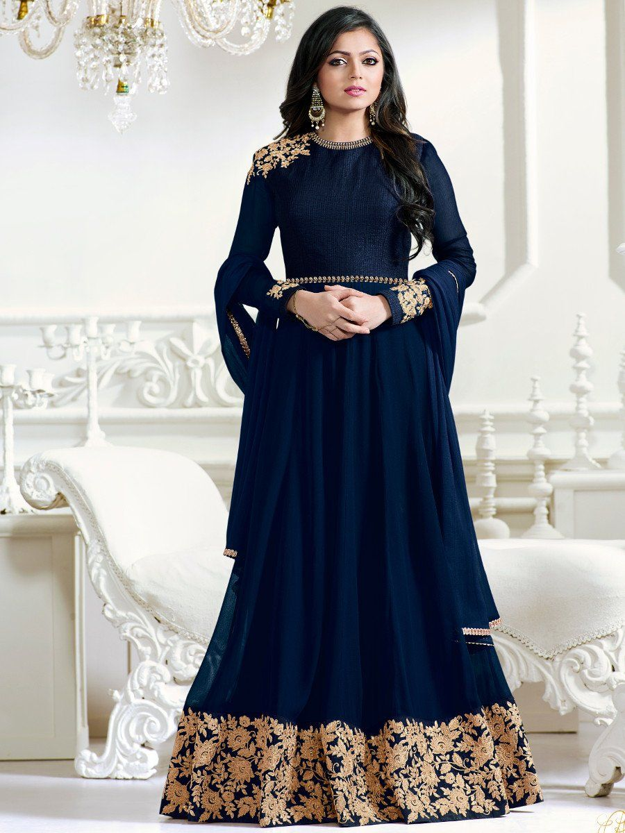 5b48848a889 Shop Drashti Dhami navy blue color georgette anarkali kameez online at  kollybollyethnics from India with free worldwide shipping.