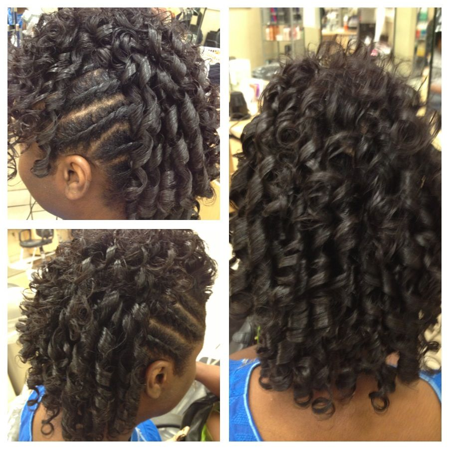 Spiral Curl Mohawk Black Women Updo Hairstyles Relaxed Hair