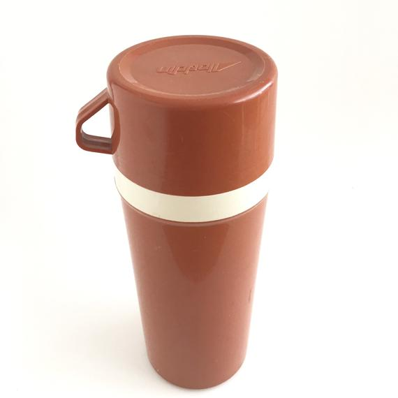 Vintage Thermos Insulated Bottle Burnt Orange 1 Liter Aladdin Hot Drink Holder 1 Liter Beverage Container Refreshing Drinks Drink Holder Bottle