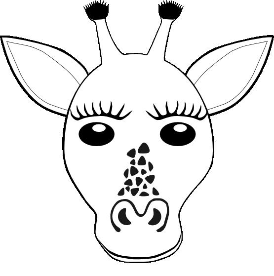 Free Coloring Book Of Giraffes Giraffe Face Black White Line Art