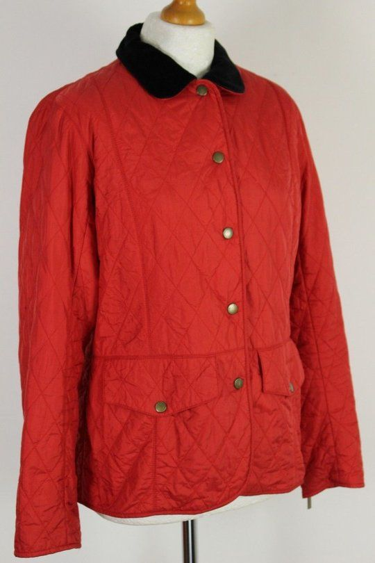 7579a5792ae6db BARBOUR Ladies Red QUILTED TAILOR QUILT JACKET   COAT - Size UK 14 ...