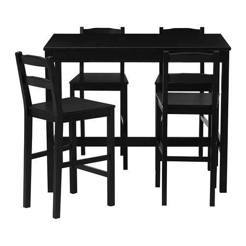 Jokkmokk Bar Table And 4 Bar Stools Black Brown Pub Table And
