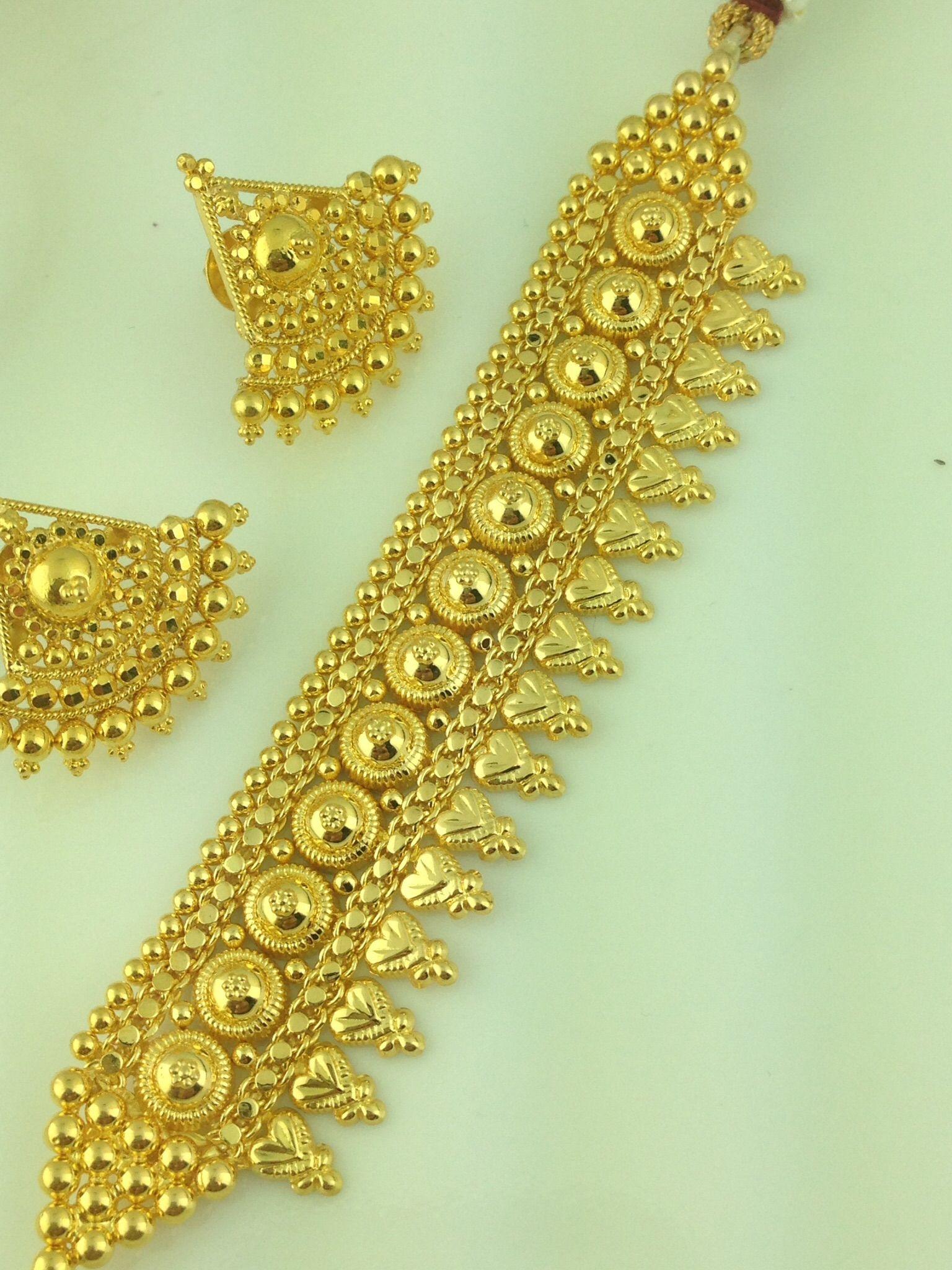 22k Gold Choker Necklace Set Indian Kundan Islamic And Gold