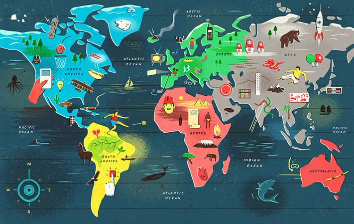 Map of the World OWEN GATLEY Pinterest Illustrations - new unique world map poster