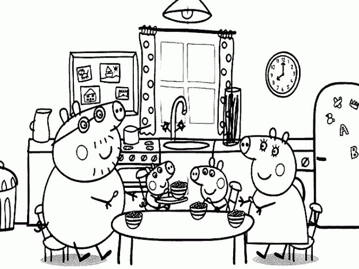 Peppa Pig and her family on the dining table coloring page Nick Jr - new free coloring pages for peppa pig