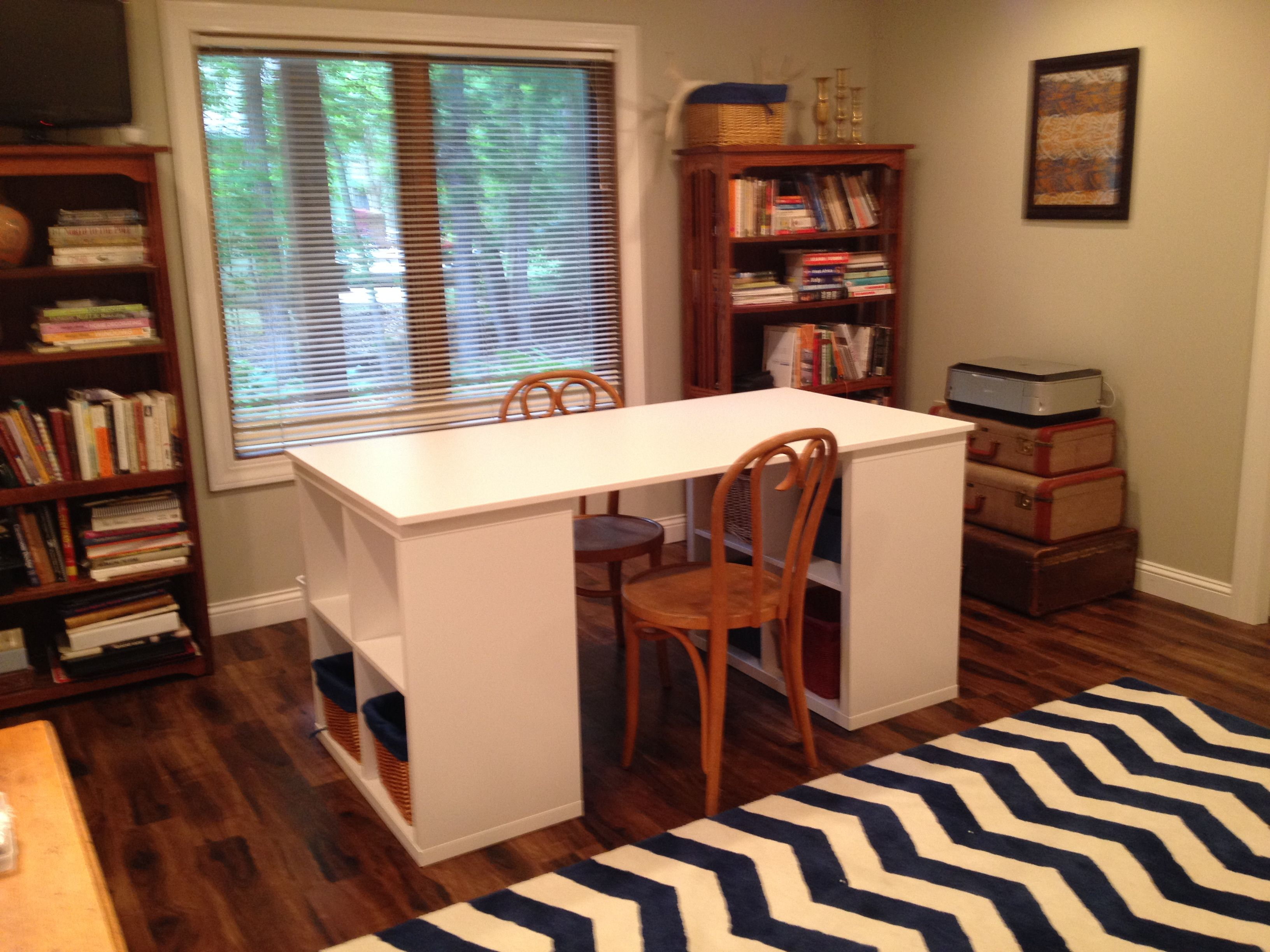 This project table uses two Kallax shelves plus a Galant ...