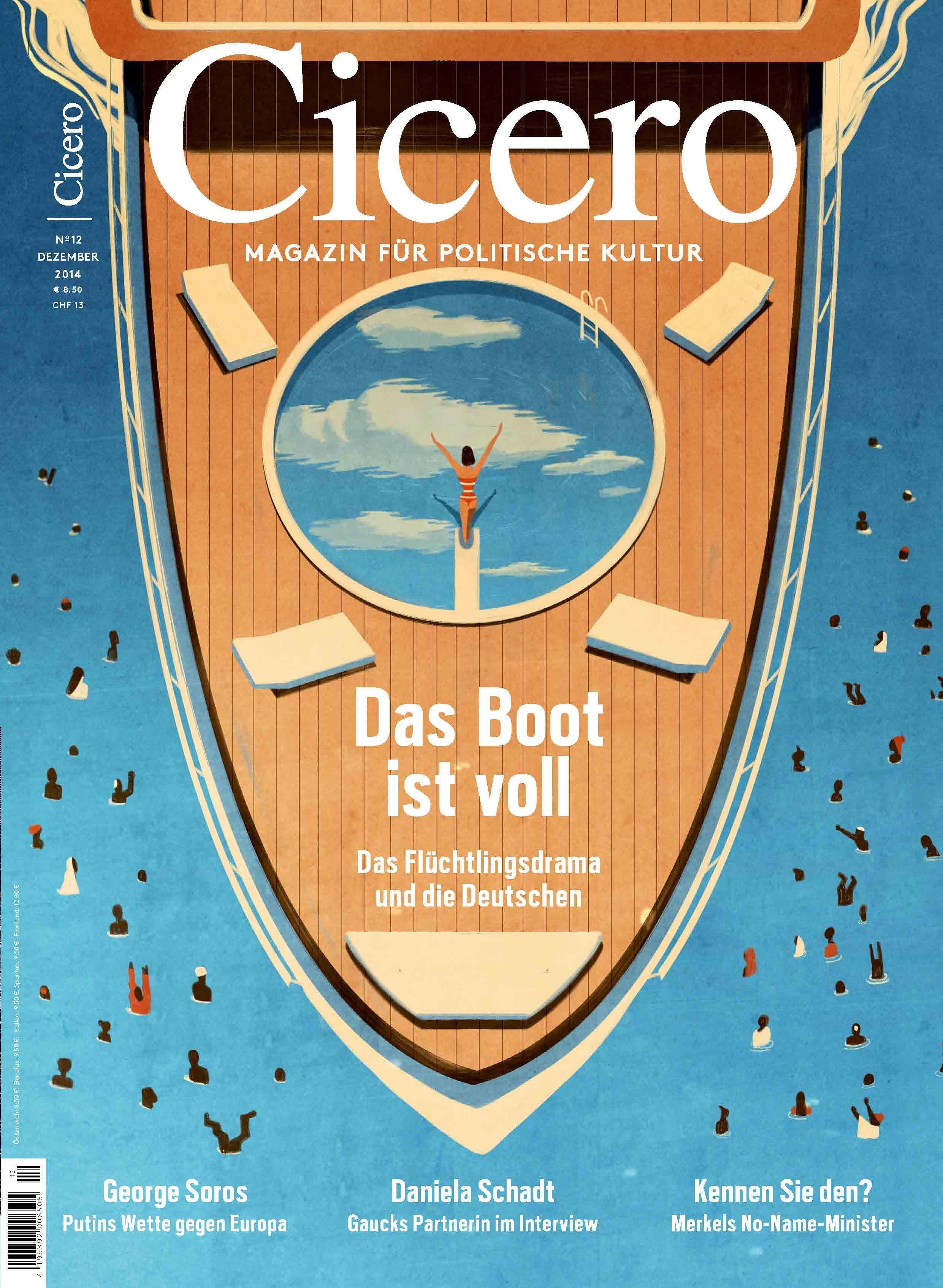 Cicero: Das wohl beste politische Cover dieser Woche kommt vom Cicero. Mit Hilfe einer einfachen Illustration setzten sich die Berliner mit der Frage auseinander, ob das Boot wirklich voll ist.