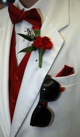 White Tuxedo With Deep Red Vest Bow Tie Hankerchief And