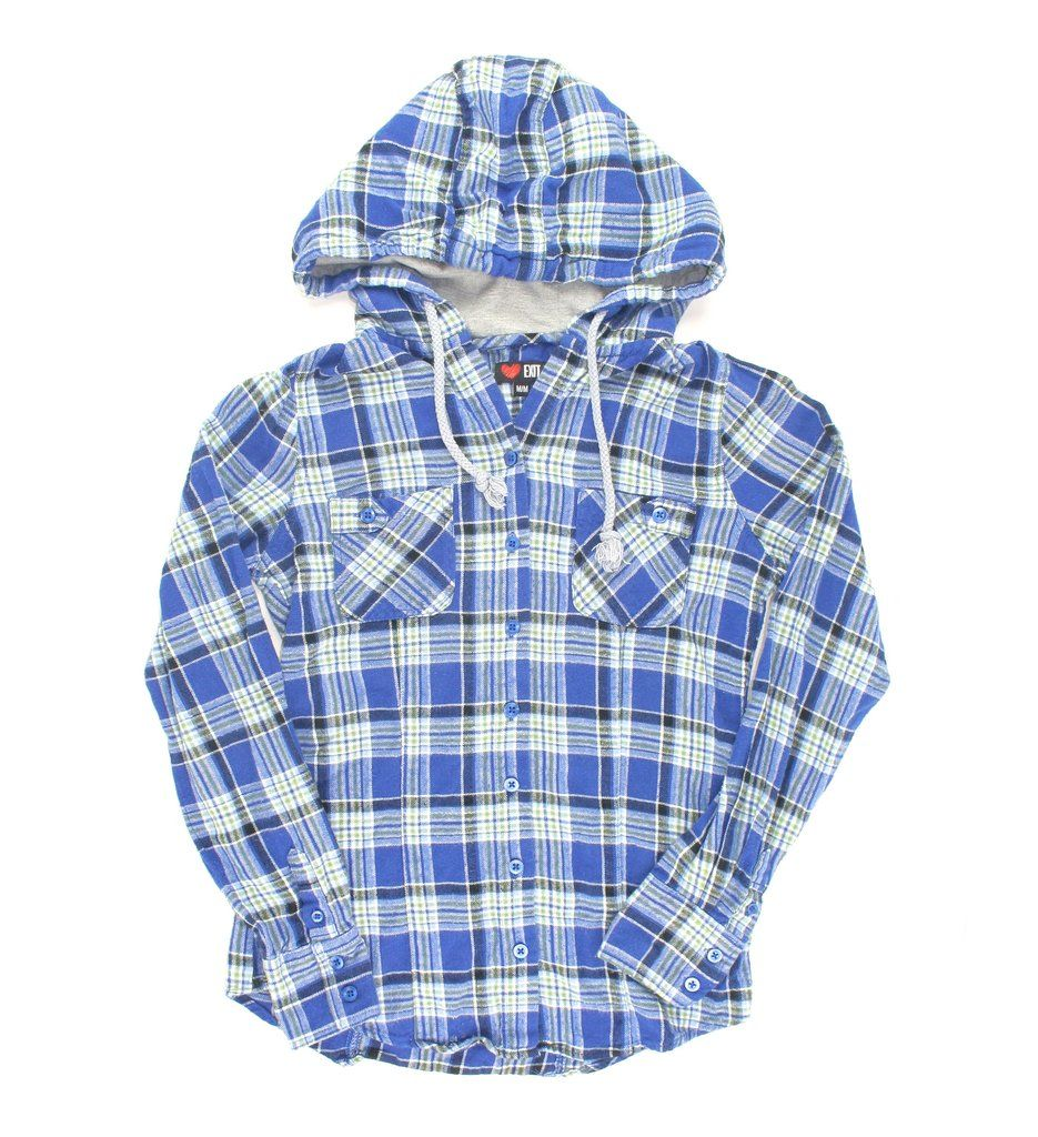 Flannel shirt apron  flannel shirt blue flannel for girls hooded shirt for girls Exit