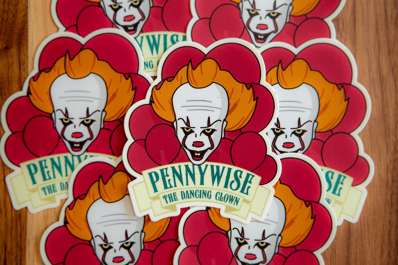 Pennywise The Dancing Clown Souvenir Sticker All Weather Etsy Pennywise The Dancing Clown Travel Stickers Vinyl Sticker