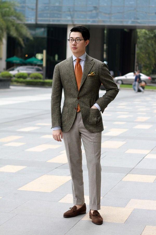 Men's Dark Brown Wool Blazer, Light Blue Dress Shirt, Grey Wool ...