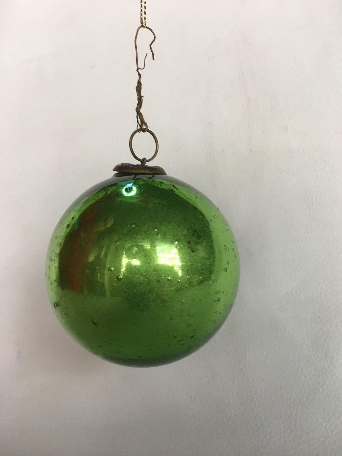 Antique German Blown Mercury Glass Green Kugel Christmas Ornament Victorian