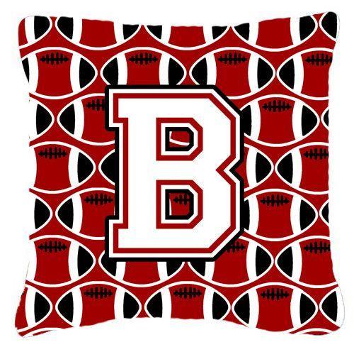 Letter B Football Cardinal and White Fabric Decorative Pillow CJ1082-BPW1414