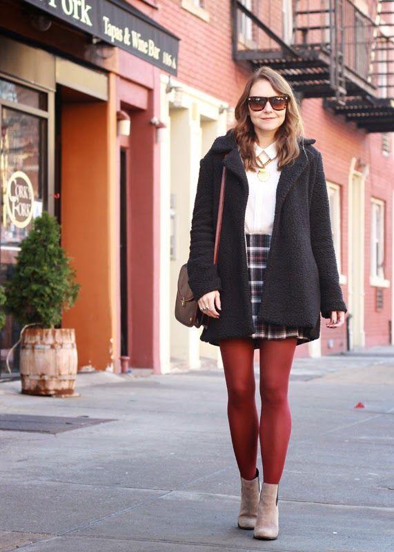 115b80903845b The Steele Maiden: wearing @kohls plaid mini skirt, burgundy tights, teddy  bear coat and @solesociety booties