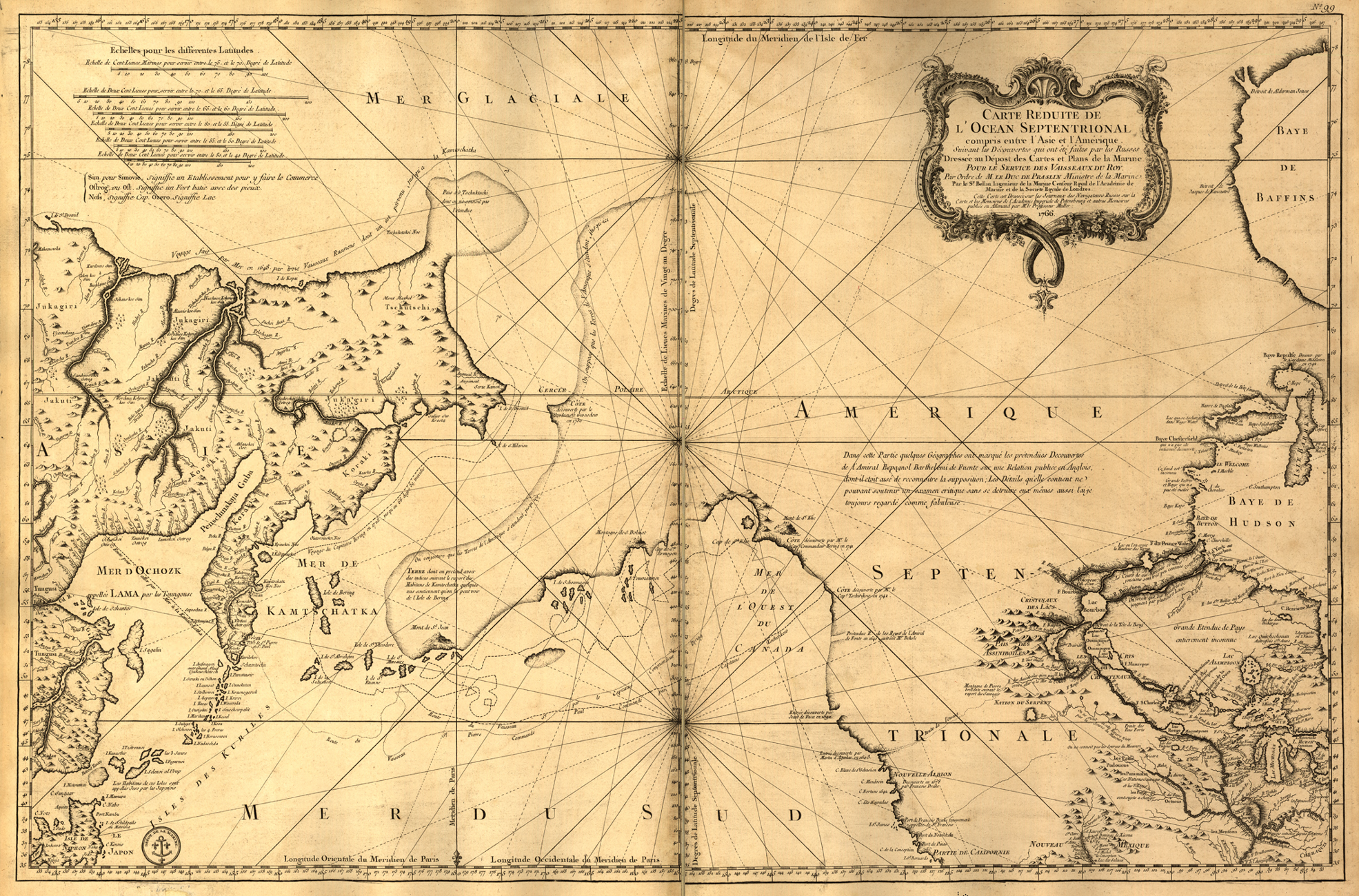 1765 Old French Nautical Map Of Russia Alaska Oregon Pacific Ocean Reprint X