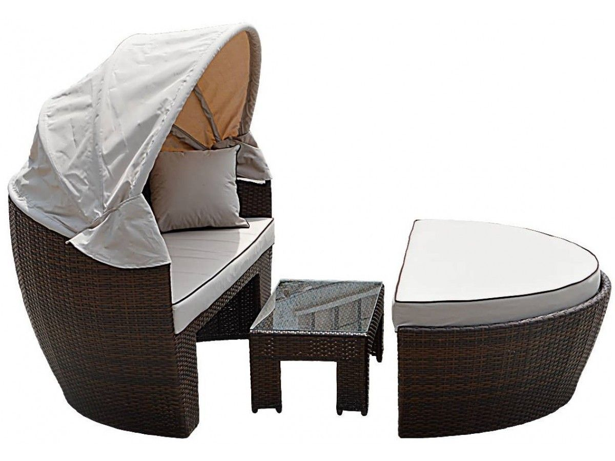 Venice Rattan Garden Day Bed in Chocolate Mix and Coffee ...
