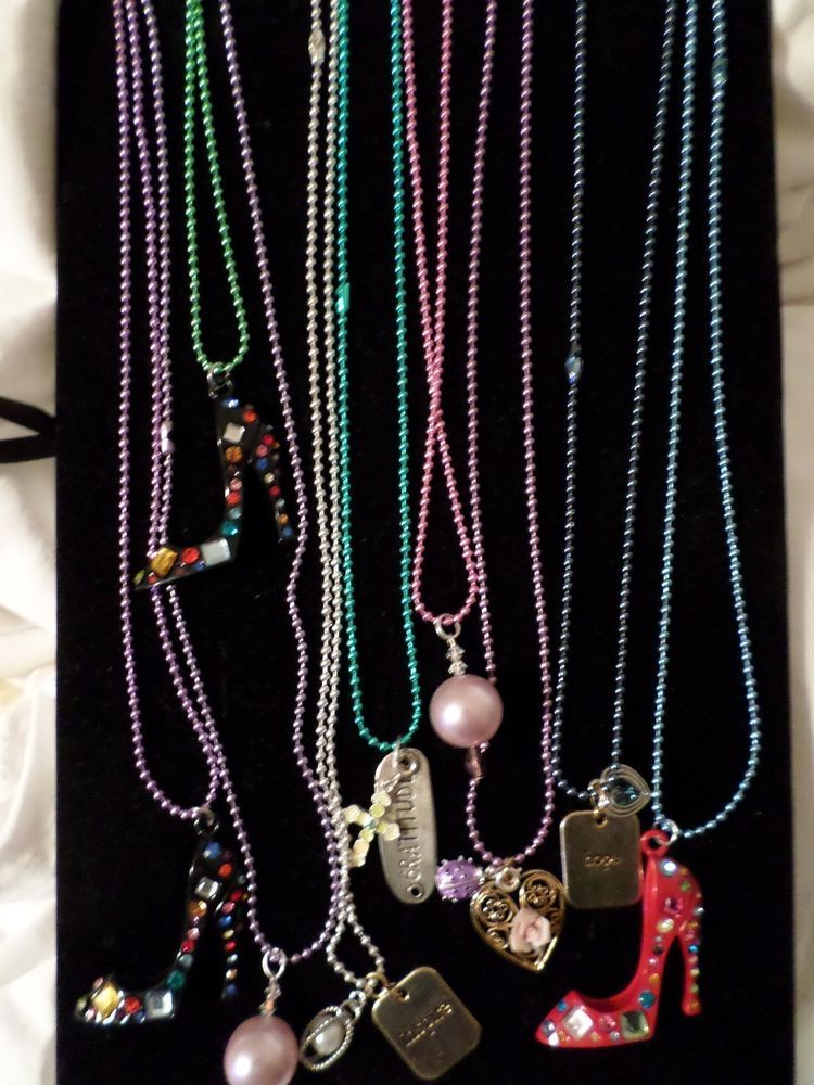 Lot of New Nine Colorful Metal Ball Chains with Variety of Charms Resell or Gift #Jewelry #Deal #Fashion