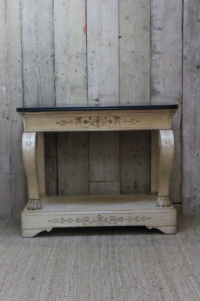 19th Cent French Bleached Console Table With The Original Slate Top