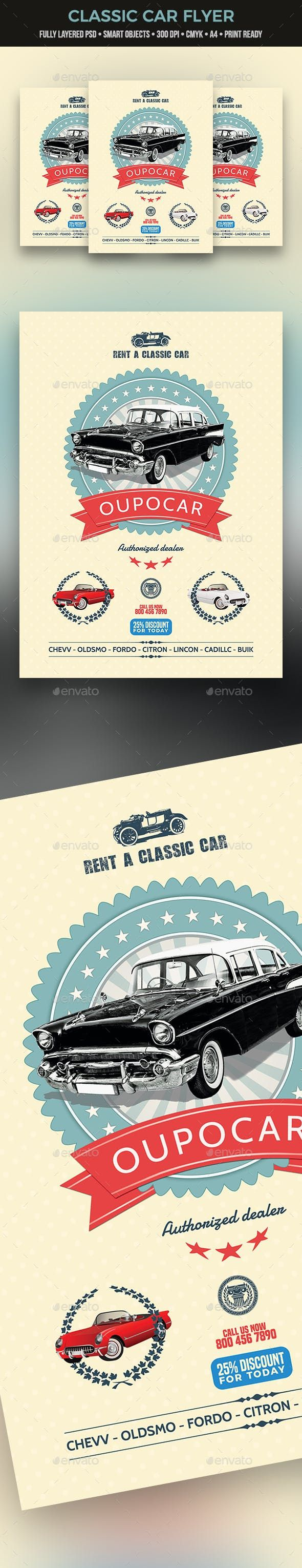 Classic Car Flyer — Photoshop PSD #classic #white
