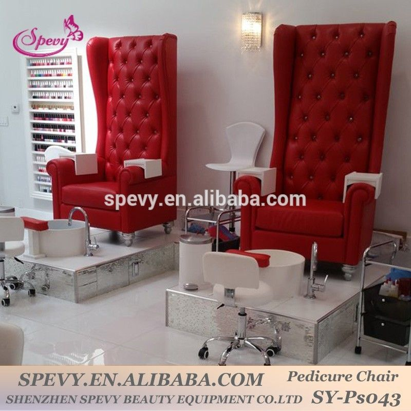 Spevy high back throne pedicure chairs for pretty nail for Salon manicure chairs