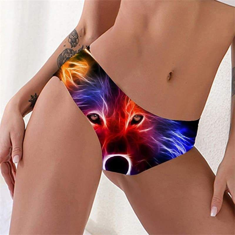 Photo of Wolf Panties Women Animal Lingerie Female Anime Underwear Psychedelic Pantys Color Tanga – 4XL