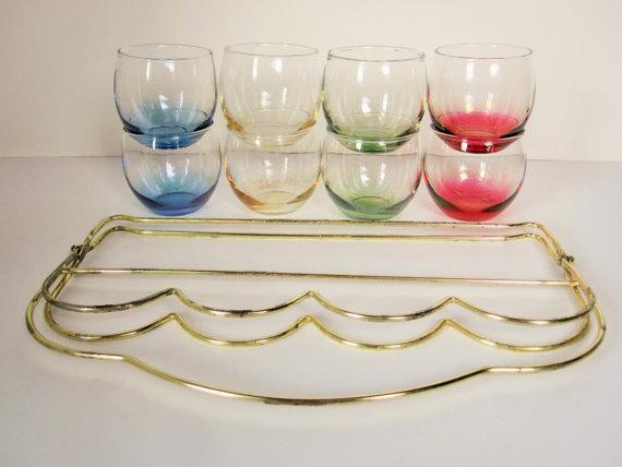 Un ensemble complet de huit verres de Roly Poly par RetroMama65