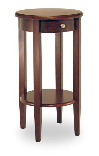 Winsome Wood Round Side Table With Drawer And Shelf Antique
