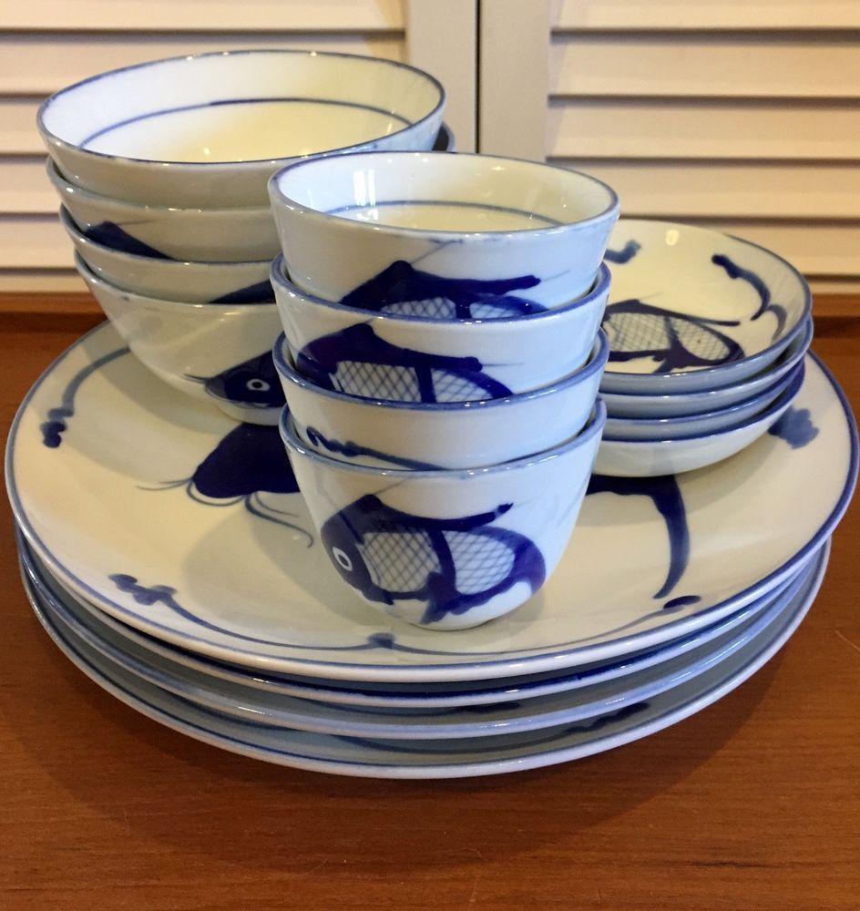 Vtg Asian China Porcelain Blue White Koi Fish Dishes Bowls Plates Tea Saki 16 Pc Plates And Bowls Porcelain Blue Pottery Dishes