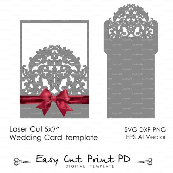 Wedding Envelope Template Swirl Cutting File K Svg Dxf Ai