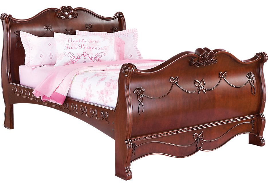 Disney Princess Cherry 3 Pc Full Sleigh Bed Beds Dark Wood
