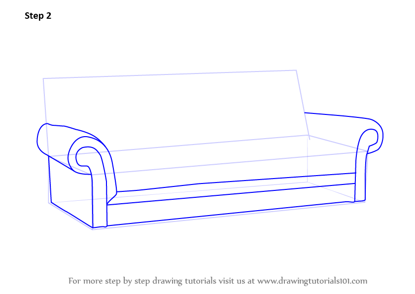 couch drawing. Learn How To Draw Sofa (Furniture) Step By : Drawing Tutorials Couch