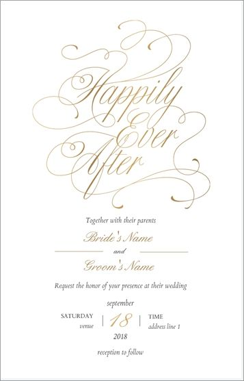 Why You Ll Love Gold Happily Ever After Wedding Ultra Thick Flat Wedding Invitati Vista Print Wedding Invitations Wedding Invitations Custom Wedding Stationery