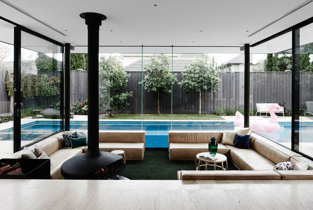 A Sunken Lounge Room Surrounded By A Pool Is The Centerpiece Of This Home Renovation Sunken Living Room Brighton Houses Living Room Without Sofa Lounge or living room