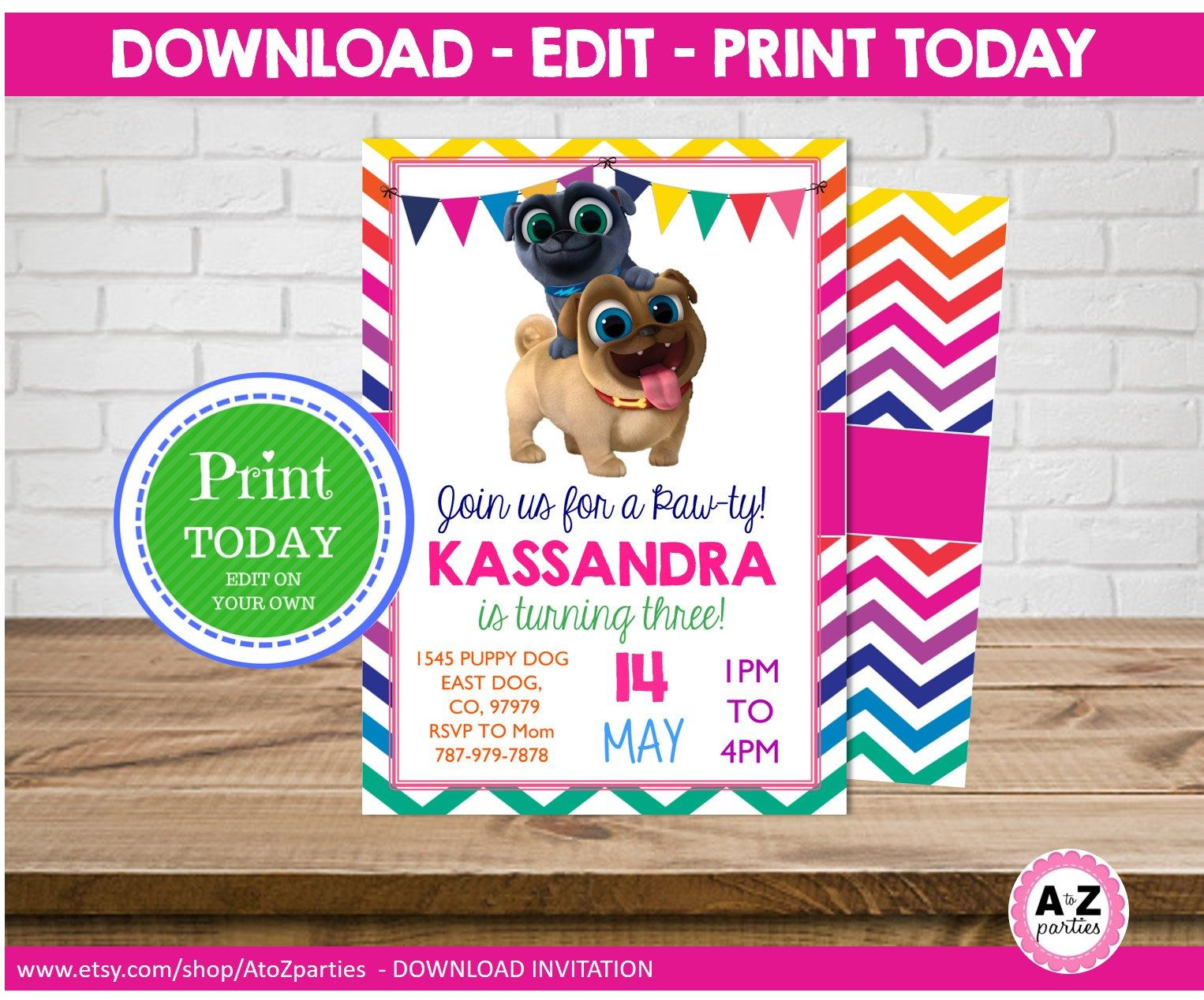 Puppy Dog Pals Invitation Rainbow Colors Download File Edit On Your Own Editable Text 5x7 Print At Home Invitations Lilly Party Dogs And Puppies
