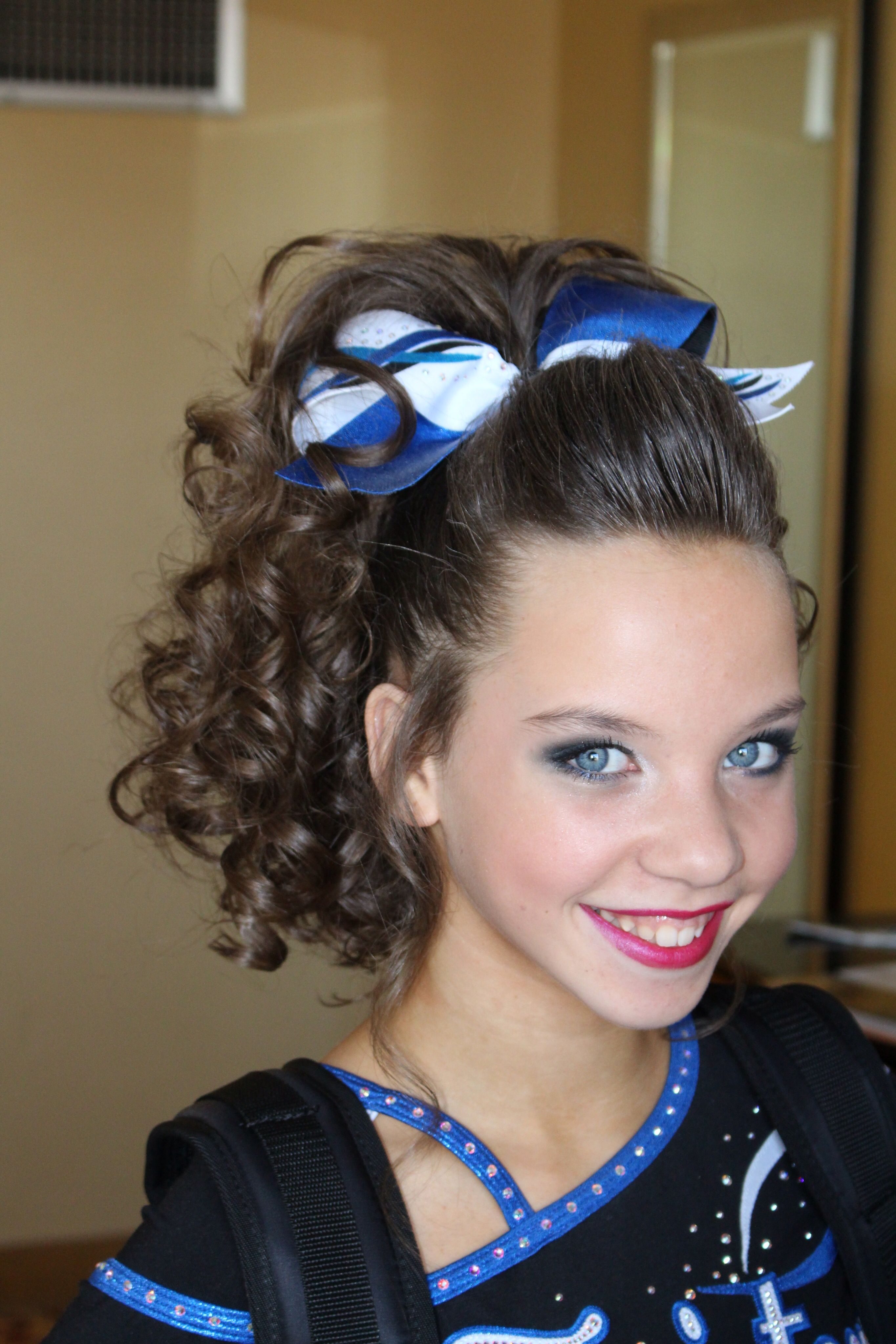 Cheer Hair Cheer hair, Cheer hair bows, Cheer makeup